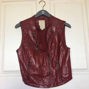 Burgundy Faux Leather Vest